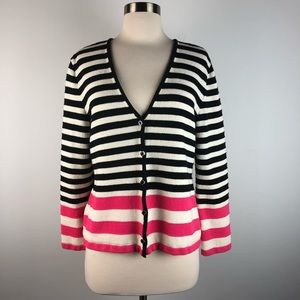 St John Collection V Neck Striped Cardigan Sweater